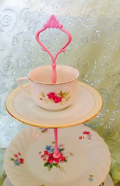 Tier Dessert Stand vintage plates for parties by buttonsandbottles, $38.00