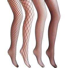Vero Monte 4 Pairs Women's Argyle Fishnet Pantyhose Tights (Black)... (585 TWD) ❤ liked on Polyvore featuring intimates, hosiery and tights