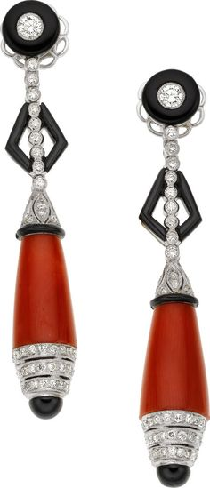 Coral, Black Onyx, Diamond, White Gold Earrings