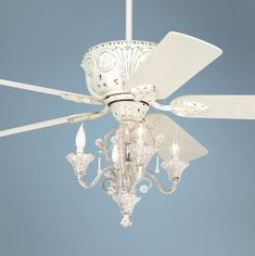 A compromise, I want a chandelier in the bedroom, my husband wants a ceiling fan. Casa Deville™ Candelabra Ceiling Fan How can I DIY this with the fan I have? Ceiling Fan Chandelier, 52 Ceiling Fan, White Ceiling Fan, Ceiling Fan With Remote, Driftwood Chandelier, Paint Ceiling, Chandelier Makeover, Chandelier Ideas, Luxury Chandelier