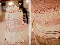 Pastel pink and white tiered classic wedding cake