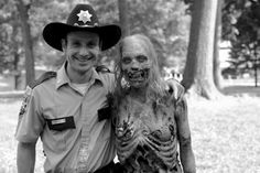 The Walking Dead| funny picture of  Andrew Lincoln and a Zombie.