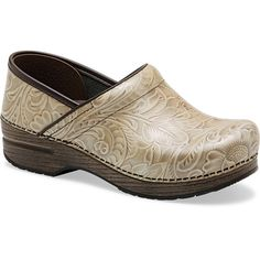 Dansko Pro Arabesque in Taupe $134.95 at www.shoemill.com/dansko. Classic clog with floral print.