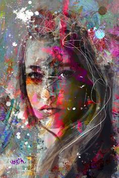 Original Abstract Painting by Yossi Kotler Abstract Portrait, Portrait Art, Portraits, Graffiti Painting, Graffiti Artwork, Graffiti Wallpaper, Best Street Art, Street Art Graffiti, Mix Media