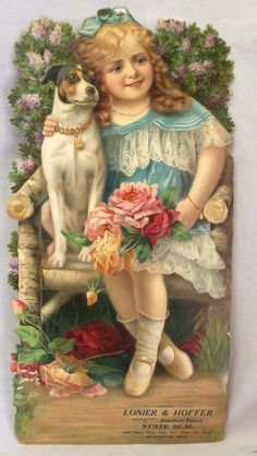 Victorian era die-cut advertising sign of girl with dog from Lonier and Hoffer, manufacturers of Standard Patent, State Seal and latest flour, feed, hay, grain and straw of Manchester, Michigan, measures 20 x 10 in.