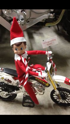 Elf on the shelf dirt bike riding