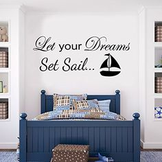 V&C DESIGNS (TM) Let Your Dreams Set Sail Inspirational Boat Nautical Girls Room Boys Room Baby Nursery Large Statement Wall Sticker Decal Mural Vinyl Art (Regular Size), http://www.amazon.co.uk/dp/B00HQ2F1WM/ref=cm_sw_r_pi_awdl_AsYaxbVXR6G2N