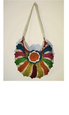 Handmade Multicolored Crochet Bag / Crossbody crochet bag by Legsi, $30.00