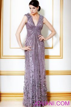 lavender dress with deep v, rhinestones, sequences..