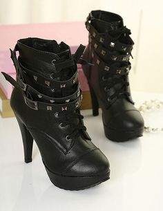 Punk Lace Up Rivet High Heels Women Pumps Platform Shoes Woman Black High Heels Ankle Boots Sapatos Femininos Zapatos Mujer-in Boots from Shoes on Aliexpress.com | Alibaba Group