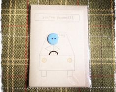 Birthday card made with buttons and brown Kraft card by ButtonBaps