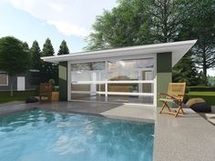 Pool house plan is the perfect complement to your backyard pool featuring a full bath, changing area with bench, and wet bar; Pool Deck Plans, Pool House Plans, Gazebo Plans, Barn Plans, Building A Garage, Building Plans, Building A House, Small Pool Houses, Modern Pool House