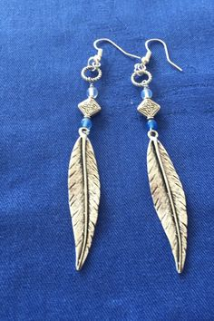 Boho long feather dangle earring with rainbow stone and chyroprase by MoonBeamsJewels on Etsy