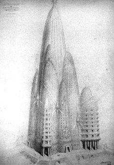 Antonio Gaudí. Proyecto para un hotel en Nueva York. 1908