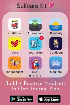 Build 8 Positive Mindsets In One App with the Journey app, your Daily Self-Care Journal.