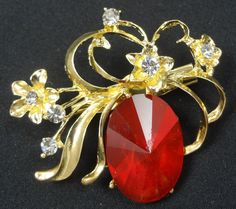 Flower Brooch - F0094 - Gold Tone Red
