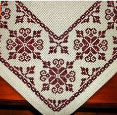 vintage linen embroidered table runner Floral Cross by Retroom Cross Stitch Borders, Cross Stitch Charts, Cross Stitch Designs, Cross Stitching, Cross Stitch Embroidery, Cross Stitch Patterns, Embroidery Patterns Free, Crochet Stitches Patterns, Crochet Motif