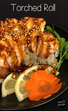 shrimp, scallop and caviar sauce in a sushi roll, then topped with fresh salmon and more caviar sauce. It's so fun to hear the popping sound and the aroma is just wonderful. | Japanese Restaurant in Ogden UTAH | Windy's Sukiyaki