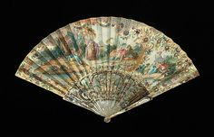 Fan Date: third quarter 18th century Culture: probably French Medium: mother-of-pearl, paper, gouache Dimensions: 11 5/8 in. (29.5 cm) Credit Line: Brooklyn Museum Costume Collection at The Metropolitan Museum of Art, Gift of the Brooklyn Museum, 2009; Gift of Orme Wilson, 1954