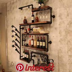 Home Bar Designs Decor Wine Racks 18 Ideas For 2019 Industrial Wine Racks, Industrial House, Industrial Pipe, Industrial Basement Bar, Wine Rack Design, Pipe Decor, Home Bar Designs, Wine Rack Wall, Creation Deco