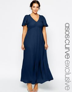 Plus Size Maxi Dress With Flutter Sleeve