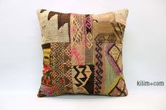 Decorative hand woven pillow cover made of 40-50 years old Turkish kilim fragments backed with cotton cloth. Zipper closure. Insert is not included. Vintage Pillows, Vintage Rugs, Cushion Covers, Pillow Covers, Kilim Cushions, Throw Pillows, Ikat Fabric, Cotton Fabric, Geometric Pillow