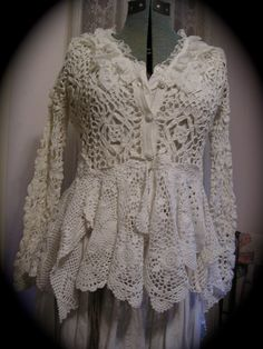 Romantic Sweater Coat, victorian, white cotton crocheted doilies, vintage upcycled. Crochet sweater altered by hand into coat. 11 doilies, dbl zig-zagged together