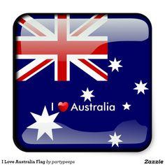 I Love Australia Flag Square Sticker
