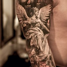 Right Sleeve Grey Ink Archangel Tattoo