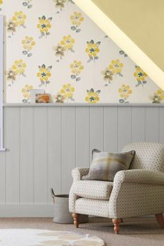 Ochre Watercolour Bloom Wallpaper from Next