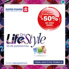 Nadchodzi kolejna edycja zakupowego szaleństwa w drogeriach Super-Pharm, czyli #DniLifeStyle. W dniach 25-26.10.2016 na posiadaczy karty LifeStyle czeka moc atrakcji. Ulubione marki w promocji -50%,  a na drugie perfumy rabat -60%! Szczegółowe informacje o całej ofercie #DniLifeStyle:  http://klublifestyle.pl/gazetka/info/id/dni-lifestyle-25-26-10-2016 Takich okazji nie można przegapić! Zapraszamy na #DniLifeStyle i do zobaczenia w drogeriach Super-Pharm!