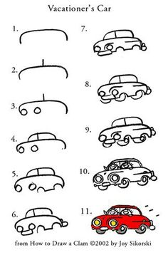 11 steps for how to draw a car