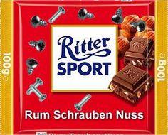 RITTER SPORT Fake Schokolade Rum Schrauben Nuss Ritter Sport Rum, Chocolates, Trick R Treat, Chocolate Dreams, Monkey Business, Can't Stop Laughing, Sports Activities, Food Humor, Sports Humor