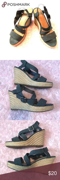 """Grey GAP Wedges Medium grey strappy Wedges from GAP. In EUC. No stains, tears, or marks.   Size: 7  Height: 4"""" GAP Shoes Wedges"""