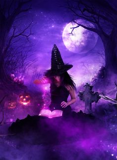 The witching hour by KellieArt on DeviantArt Halloween Painting, Halloween Art, Vintage Halloween, Halloween Witches, The Colour Of Magic, Witch Wallpaper, Beautiful Witch, Purple Halloween, Psy Art