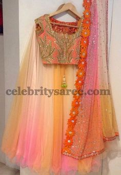 Pastel Color Half Saree by Mugdha Half Saree Lehenga, Lehnga Dress, Indian Lehenga, Red Lehenga, Sari, Bridal Lehenga, Half Saree Designs, Lehenga Designs, Saree Blouse Patterns