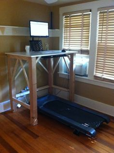 Here is another exemaple of a DIY standing desk that converts a treadmill into a walking desk. Diy Standing Desk, Treadmill Desk, Stand Up Desk, Home Office Decor, Home Decor, Diy Desk, Home Hacks, Home Remodeling, Diy Furniture