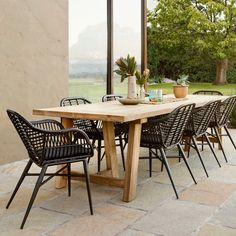 Canterbury Dining Table 3000 with 8 Deck Chairs Black Package - Outdoor Teak Dining Table, Outdoor Dining Chairs, Outdoor Tables, Outdoor Patios, Deck Chairs, Outdoor Rooms, Outdoor Living, Deck Furniture, Design Furniture