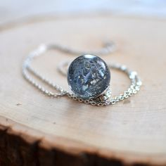 moss necklace resin sphere orb pendant  blue by Goodthingsjewelry, $40.00