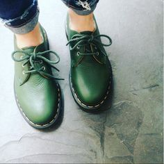 The 1461 shoe in Green Hug Me leather. Shared by jerrywilliamsmusic