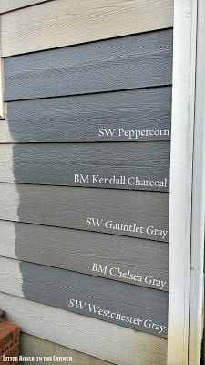 The last one would match the morgan house. Little House on the Corner: Home Exterior Painting Decisions: A Gray Area (Part IV) - Sherwin Williams vs. Exterior Gray Paint, Exterior Paint Colors For House, Paint Colors For Home, Grey Paint, Stucco Colors, Neutral Paint, Paint Colours, Exterior Paint Sherwin Williams, Benjamin Moore Exterior