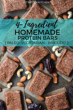 Rx Bar Dupe These 4-Ingredient Homemade Protein Bars are paleo, vegetarian and Whole30 compliant!