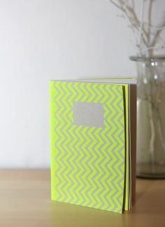 Notebook zigzag recycled paper & neon by MakeSomeNotes on Etsy