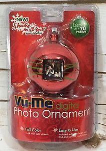 "New Vu Me Digital Photo Christmas Ball Ornament Red Full Color 1 44"" LCD Screen | eBay"
