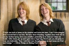 Oliver Phelps on filming Freds death. Yep. I'd feel the same way about my twins death.