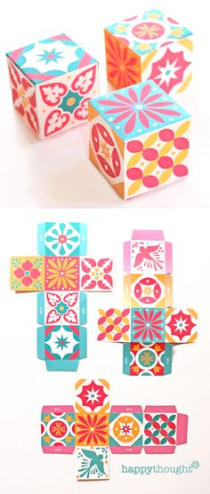 print and make these Mexican Talavera tile inspired favor boxes with templates at https://happythought.co.uk/product/printable-talavera-tile-templates
