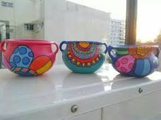 Painted Clay Pots, Painted Flower Pots, Hand Painted, Garden Crafts, Garden Art, Diy Crafts, Pebble Painting, Pottery Painting, Mundo Hippie