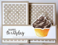 Double Z Fold - Heart's Delight Cards Happy Birthday Husband, Happy Birthday Images, Happy Birthday Greetings, Birthday Wishes, Cupcake Card, Kids Cards, Cards Diy, Sweet Cupcakes, Handmade Birthday Cards