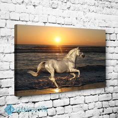 Gün Batımı ve Beyaz At Tablo #hayvan_tabloları