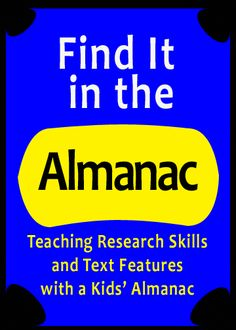 Introducing Research Skills with a Kid& Almanac Library Research, Library Skills, Research Writing, Research Skills, Library Lessons, Social Studies Notebook, Teaching Social Studies, Teaching History, History Education